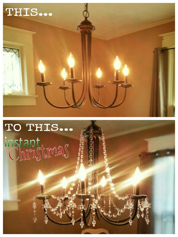 22 best chandelier ideas images on pinterest chandeliers christmas chandelier 2013 add crystal bead garland and snowflake crystals to a simple aloadofball Choice Image