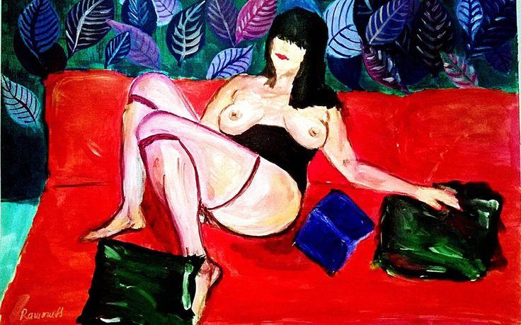 Red sofa -30X42cm,acrylic,by Ramoness