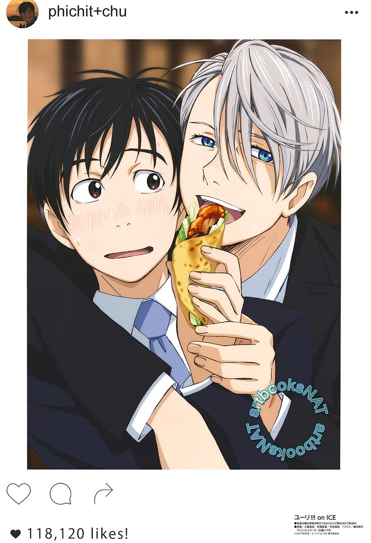 Yuri!!! on Ice (ユーリ!!! on ICE)Yuri Katsuki and Victor Nikiforov get up close and personal on Phichit's instagram in new poster art from December's Animedia Magazine (Amazon US | Japan), illustrated by key animator Yuka Kudo (工藤裕加).