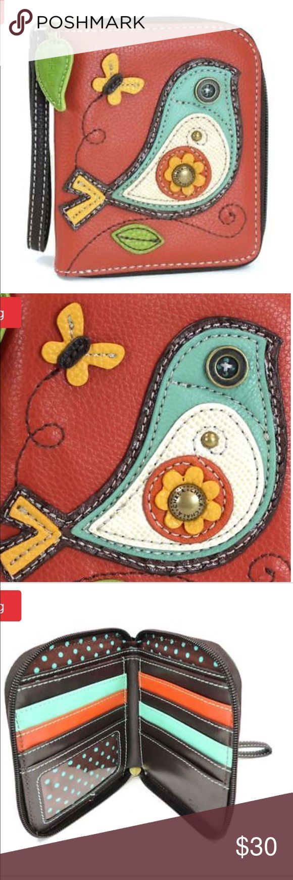 """* 1 DAY SALE* NEW zip around wallet / Wristlet BRAND NEW Chala Bird Brick Red zip around wallet / Wristlet. Stylish, fun, and functional. * The by a beautiful detailed bird. * LOTS of slots for your cards and cash. * one clear slot for photo ID. * Back zipper pocket for coins. Material: Faux Leather. Color: Brick Red. Approx. Measurements 5""""x 5"""" x 5.5. Designed in California. This is such a beautiful piece. I'm usually open to offer but I'm firm on this piece. Great for yourself or a present…"""