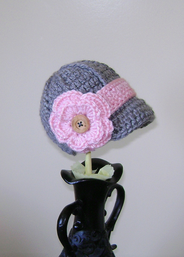 Baby girl hat - Newsboy hat - crochet News boy cap with brim and flower - Set of 1 hat, 2 flowers and 2 strapss) Newborn 0-3 Months. via Etsy.