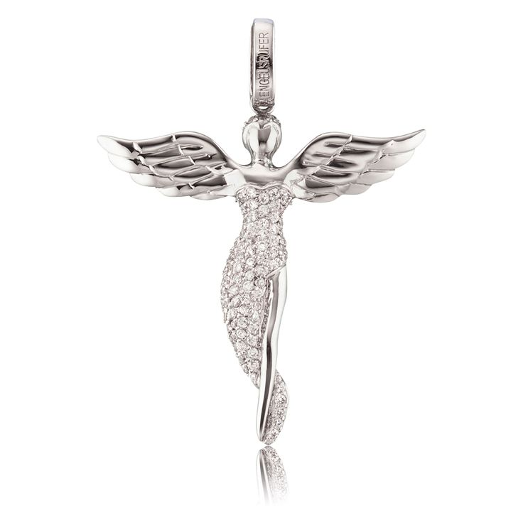 Silver angel pendant, $72.00 - $114.00. Click to open. Safe website and Worldwide delivery. Pendant trimmed with white cubic zirconia in high-quality handcraft, made of rhodium plated 925 sterling silver. Rhodium plating is an