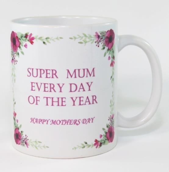 Novelty Coffee Mug 11oz wording ( Super Mum All Year )   Fun Gift 325 ml
