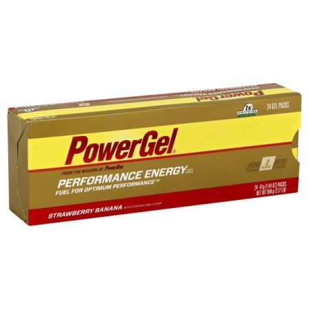 PowerBar Gel Strawberry Banana 1X Caffeine Gels, 4ct, Red