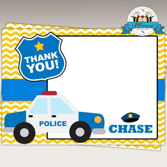 Police Birthday Party Thank you Card/Note by LilFacesPrintables