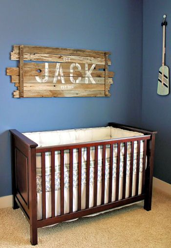 Nautical Baby Boy Nursery With Rustic Wood Sign With Jack