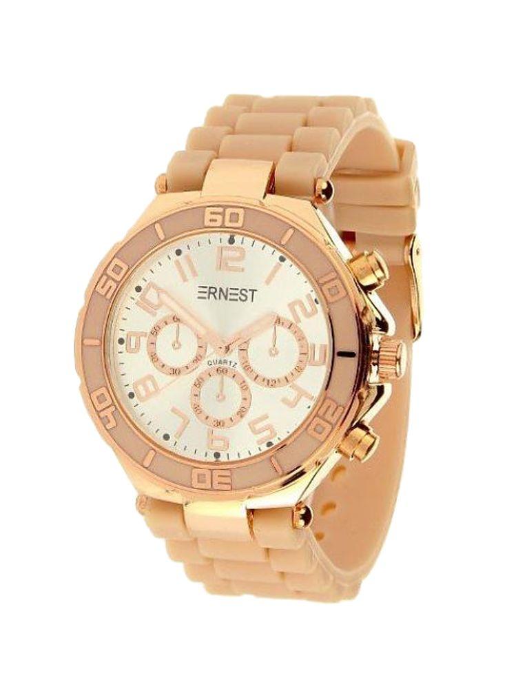Ernest Horloge Rose Goud - Donker Nude is een prachtig rose gouden horloge met…