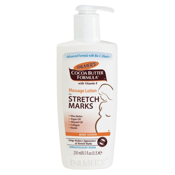 Massage Lotion for Stretch Marks This non-greasy, all over body lotion helps improve elasticity and suppleness of stretching skin during and after pregnancy.  Also recommended for stretch marks associated with weight fluctuations.