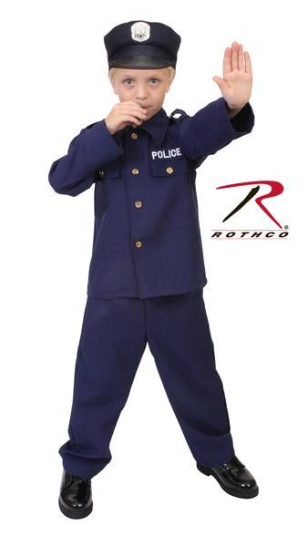 One size left Age 3 to 5 Years Old This Item is Prohibited from Sale and Use in California BY LAW Navy Blue Kids Police Costume , Long Sleeve Shirt With Gold Co