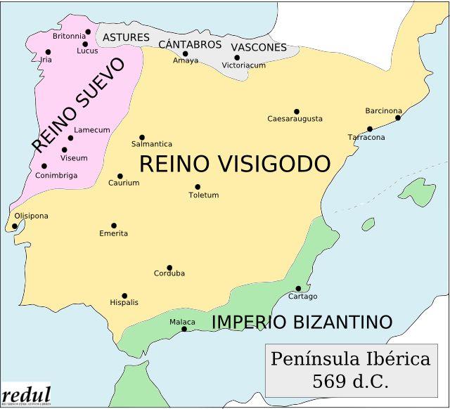 Reino impresionante:  Este mapa enseña los reinos presentes durante el año 569 d.C. Podemos ver que el reino Visigodo era el reino dominante durante este año.