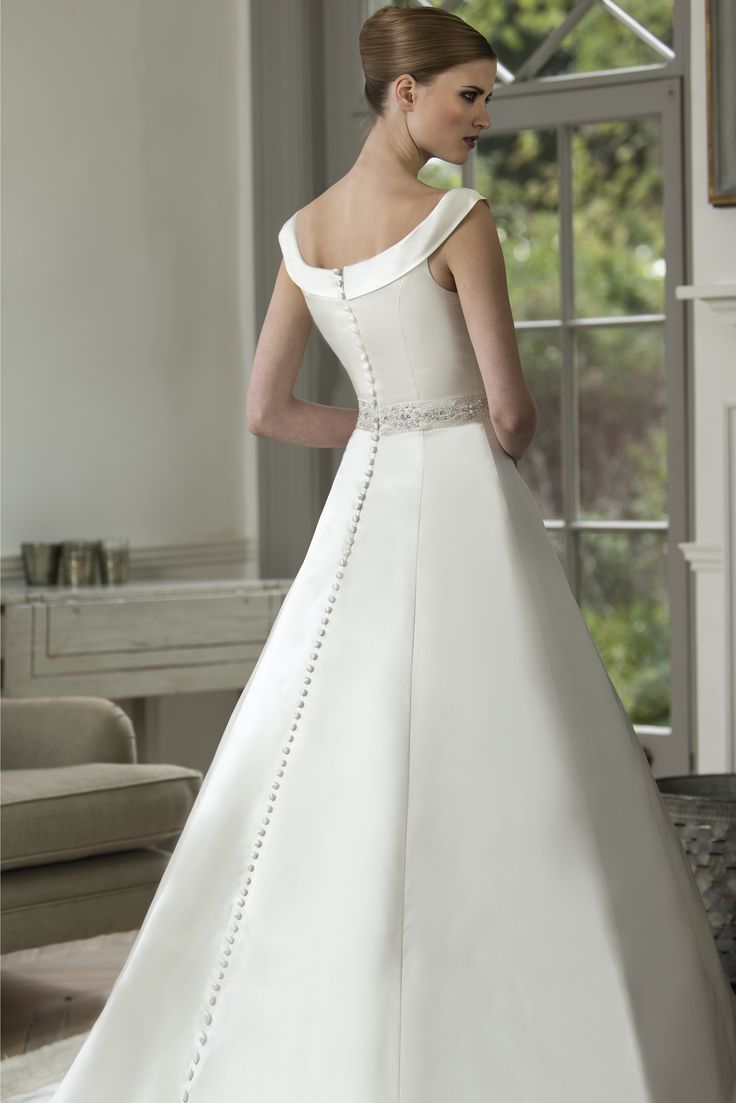 Beatrice luxury satin bridal gown with boat neckline for Wedding dress trim beading