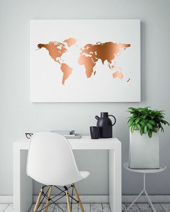 Real Copper Foil, Copper Map Print, Genuine Copper Foil, Copper Foil Art, Map Art Print, Stylish Wall Hanging, Teen Room Decor  {How to rock