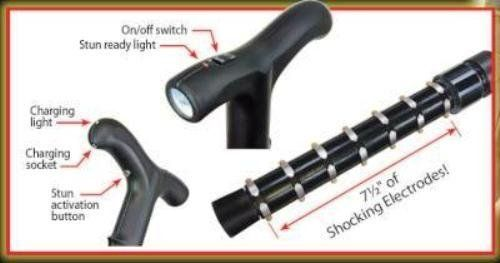 Zap Self Defense Cane with Flashlight with Carrying Case! They'll Think It Is Just a Cane Until It Is Too Late