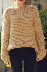 Fashionable Puff Sleeve Round Neck Solid Color Sweater For Women - APRICOT ONE SIZE(FIT SIZE XS TO M)