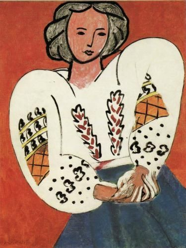 """La blouse roumaine"" (1940), an oil-canvas painting by the famous French artist, Henri Matisse. The inspiration of the painting was drawn from the Romanian traditional costume."