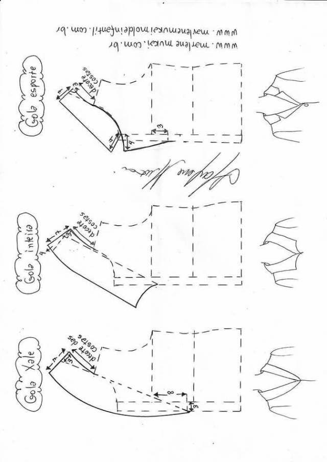 Variación tipos de cuellos Patrones gratis