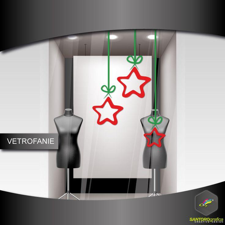 sagoma stella di natale - realizzata in vinile prespaziato e disponibile in varie dimensioni.