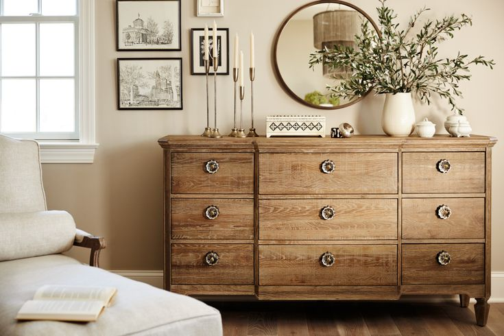 Country Cottage. Embrace the rustic beauty of the Regents Park dresser, with its elegant curves, vintage-style hardware and charming distressed oak wood. This dresser offers ample space for clothing, bedding and other essentials. Customer assembly required.