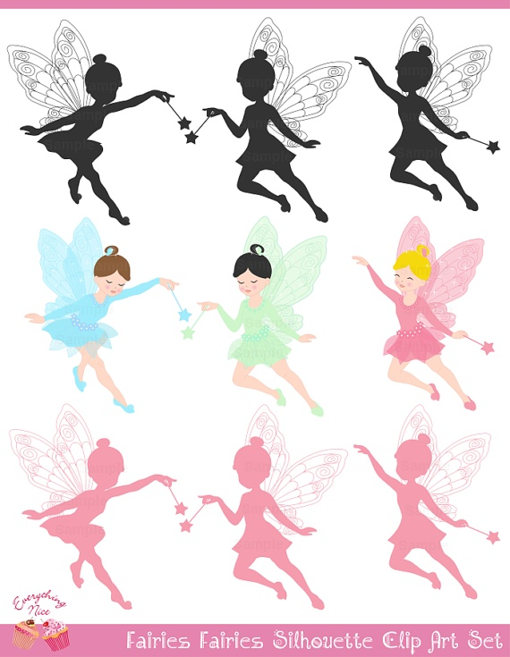 Fairies Fairies Silhouette Clip Art Set by 1EverythingNice on Etsy:
