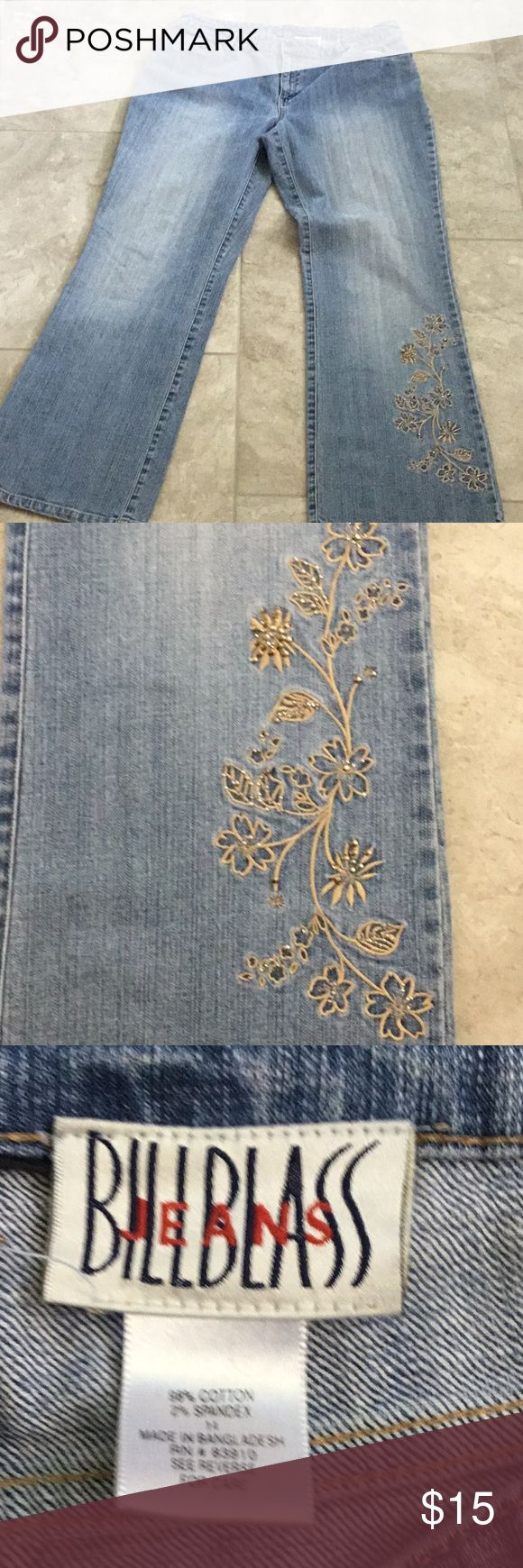 "Bill Blass Embroidered Light Wash Jeans Size 14 Medium Wash Bill Blass Jeans Beautiful floral embroidery with grommets on left leg Size 14 98% Cotton 2% Spandex Waist measures approximately 17"" (34"" total) Inseam measures 29.5"" Rise measures 10.5"" Hips measure 21"" (42"" total) Leg opening measures 10""  Thanks for looking! Bill Blass Jeans"