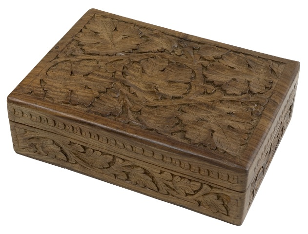 Sheshan Wood Leaf Box, made in India - Ten Thousand Villages Canada