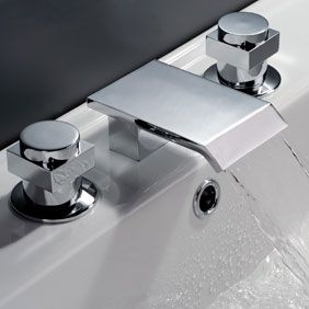Contemporary Waterfall Bathroom Sink Faucet (Chrome Finish, Widespread) T7003