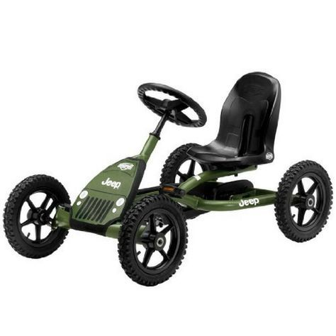 The Off-Road Jeep Go Cart is the perfect pedal kart for 3 to 8 year old kids. The Jeep go cart can go forward or reverse and works great coasting or braking