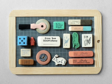 vintage erasers -- The BEST erasers where the chalkboard ones at school and when you got picked to take them outside and beat the dust out of them.