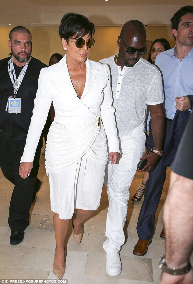 A bit of all white: Kris Jenner and Corey Gamble wore matching white outfits as they stepped out together in Cannes on Wednesday
