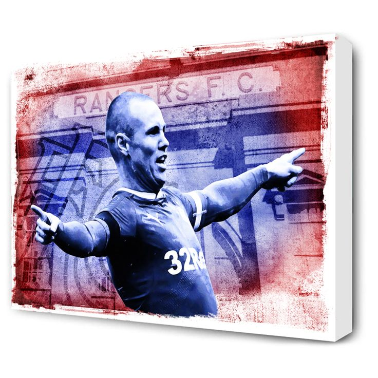 "Kenny Miller, watercolour design canvas with Ibrox background.Two canvas sizes available:20"" x 16"" or 30"" x 20""• Next working day dispatch. • Quality canvas print. ..."
