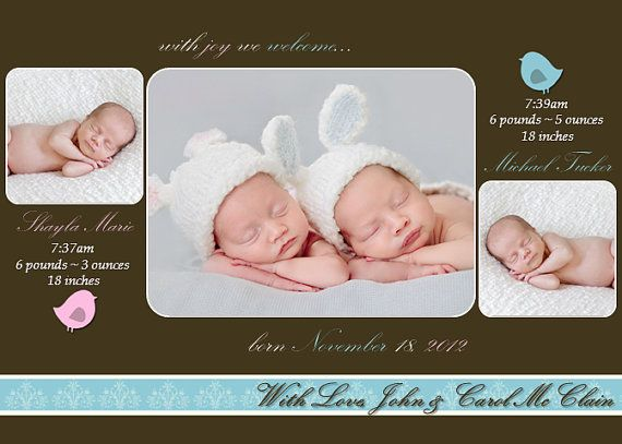 12 Best Twin Birth Announcement Ideas Images On Pinterest