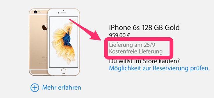 iPhone 6S sofort lieferbar - https://apfeleimer.de/2015/09/iphone-6s-sofort-lieferbar - Jetzt iPhone 6S bestellen mit Lieferung am 25.09.2015? Dies wäre 2014 beim iPhone 6 Verkaufsstart kaum vorstellbar gewesen, 2015 scheint sich Apple deutlich besser auf den iPhone Verkaufsstart vorbereitet zu haben. So findet ihr heute, 5 Tage bevor das neue iPhone 6S auf den Markt kommt und im ...
