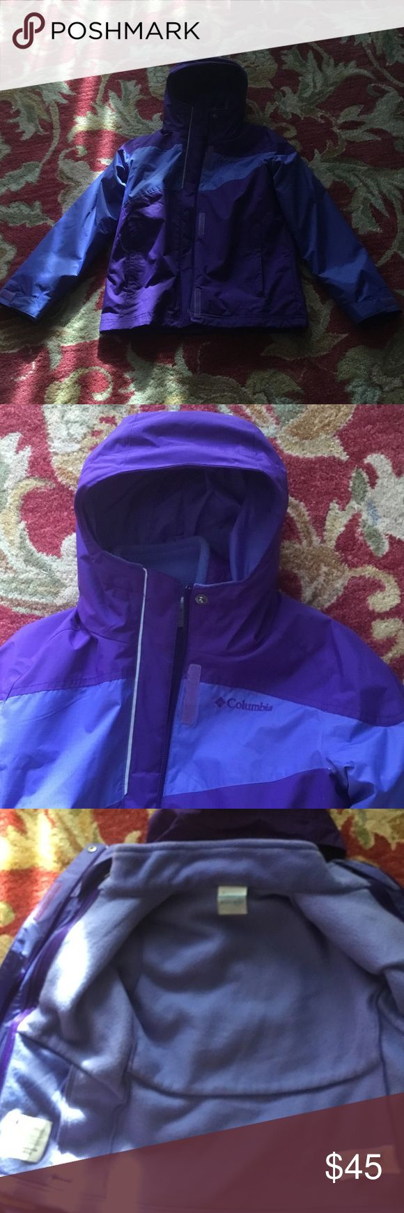 Columbia interchange jacket. Size 8 Wow this is a beautiful Columbia jacket combination 2 coats in one ....zippers together super Duper condition size 8.  2 shades  of purple absolutely beautiful pet and smoke free home thank you for looking Columbia Jackets & Coats