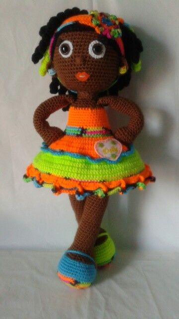 Crochet Doll African American Girl With Coily Curls And