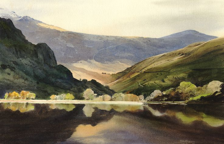 Reflections on Llyn Gwynnant, an original watercolour painting by Rob Piercy