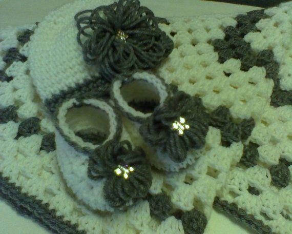 Crochet baby blanketnewborn baby hatbaby by theshimmeringrose 34 99