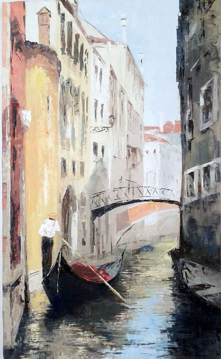 """The Bridge in Venice""  Size 30x55  $179 #painting #art # design #venice #picture #water #summer #gondola #olio #nature"