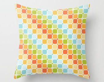 Check out Orange Pillow, Circles Pillow, Rainbow Pillow, Squares Pillow, Retro Pillow, Mod Pillow Cover, Cushion, Contemporary Pillow, Clementine, art on peppermintcreek