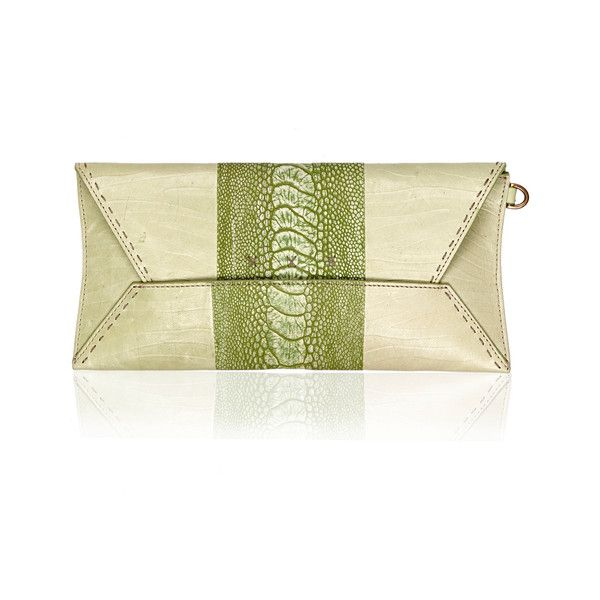 Okapi Nambi / Linden Green Ostrich Shin, Gold Hardware ($755) ❤ liked on Polyvore featuring bags, handbags, clutches, green, tote handbags, green tote bag, wristlet purse, evening purses and green purse