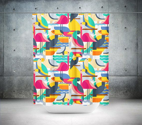 Bird Shower Curtain | Colorful Shower Curtain | Bird Bathroom Decor | Colorful Bathroom Decor | Flamingo Shower Curtain