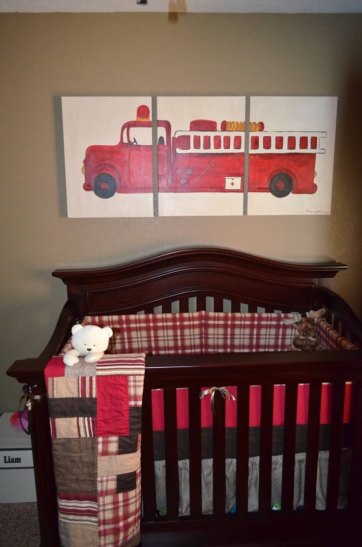 DIY painting and bedding by my mom and myself. Fire fighter nursery. Fire truck. Boy nursery