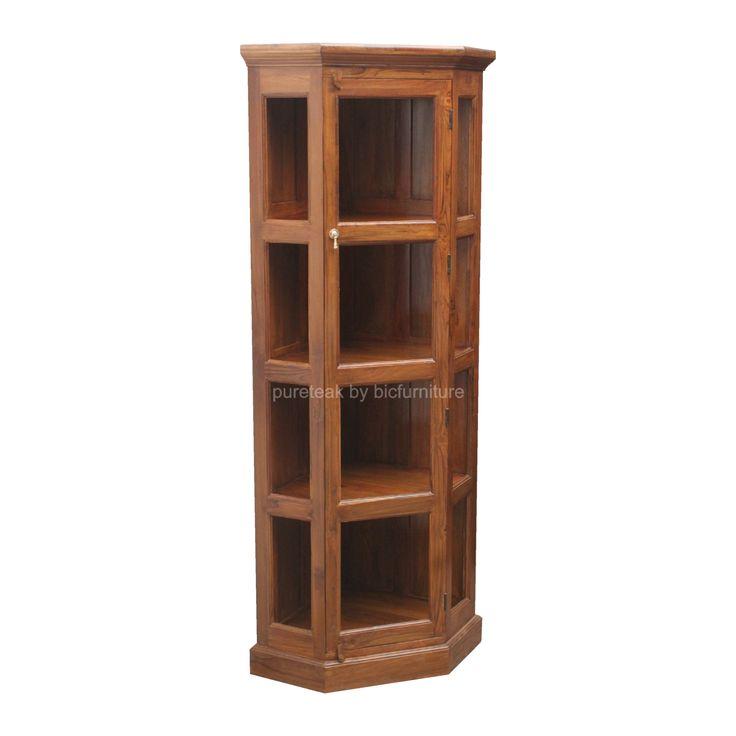 Teak Corner Display Cabinet