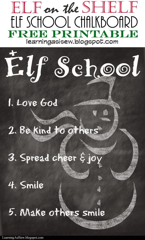 Elf on the Shelf: Elf School - FREE Printable Chalkboard. Just add chalk (and maybe some other dolls/figures as students!) #elfontheshelf