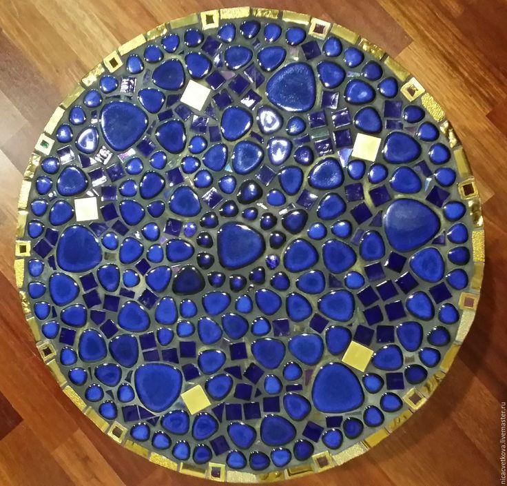 """Купить Столик придиванный """"Золотой век"""" мозаика - тёмно-синий, кобальт, столик, мозаика, Ковка"""