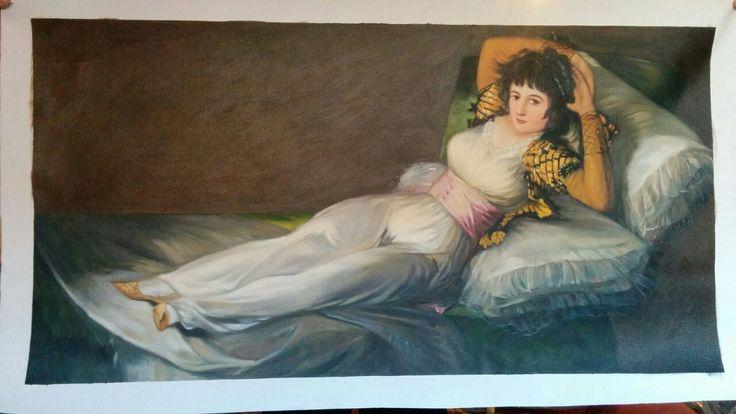 La Maja Vestida, Goya. Copia realizzata a mano al 100%.