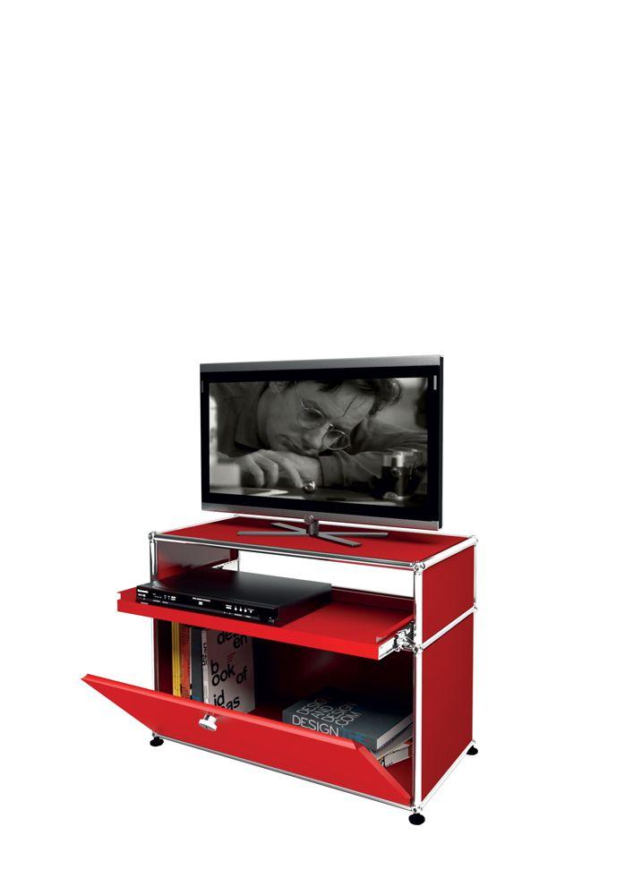 USM Modular Furniture Media Rubis Red USM Haller TV Rouge Rubis