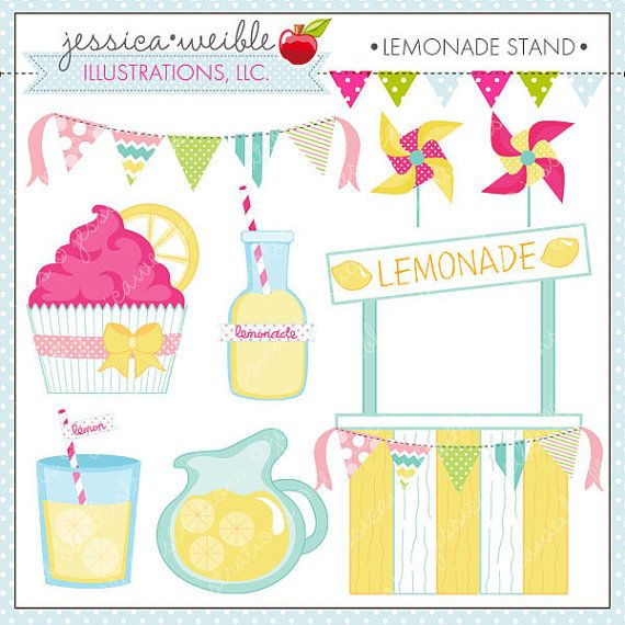 Lemonade Stand - Cute Digital Clipart for Commercial and Personal Use, Lemonade Summer Clipart