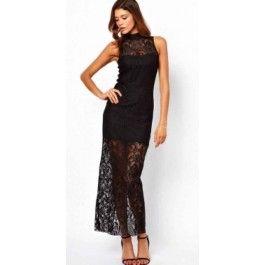 Vestido Negro Maxi Encaje VL54