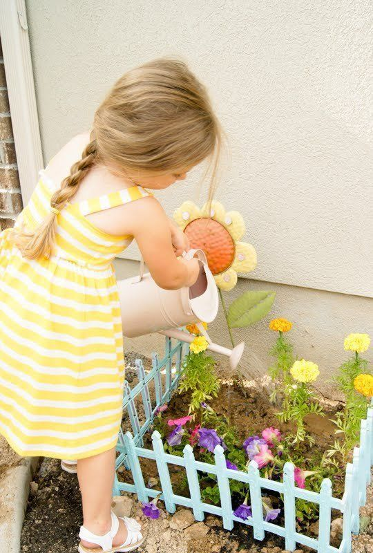 10 Creative Ideas to Make an Outdoor Oasis for Kids this Summer If your kids are like my little one they love to help by watering the flowers. So much so that sometimes my drought tolerant succulents are not so happy. I love the idea of giving her her own little space to care for.