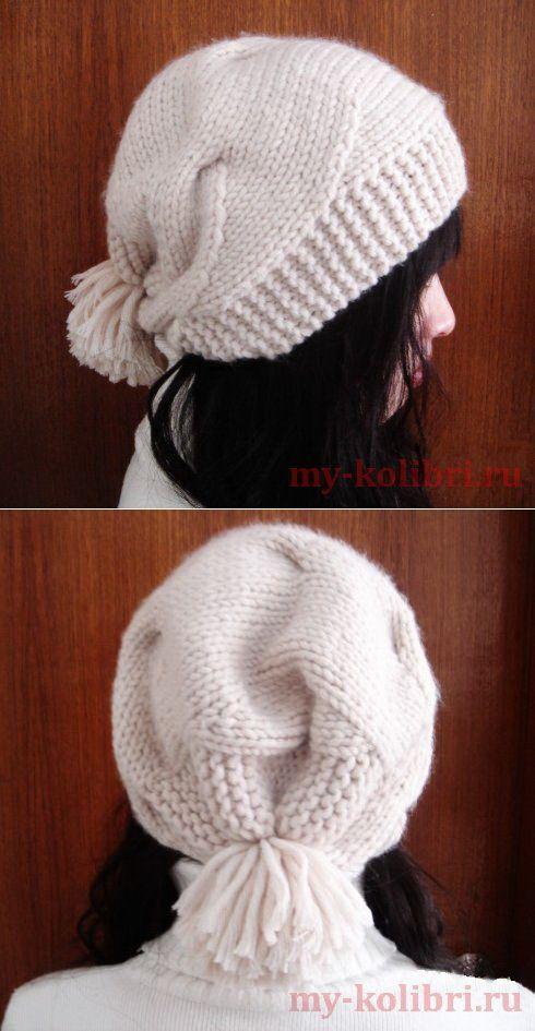 Модная женская шапка спицами из китайского журнала